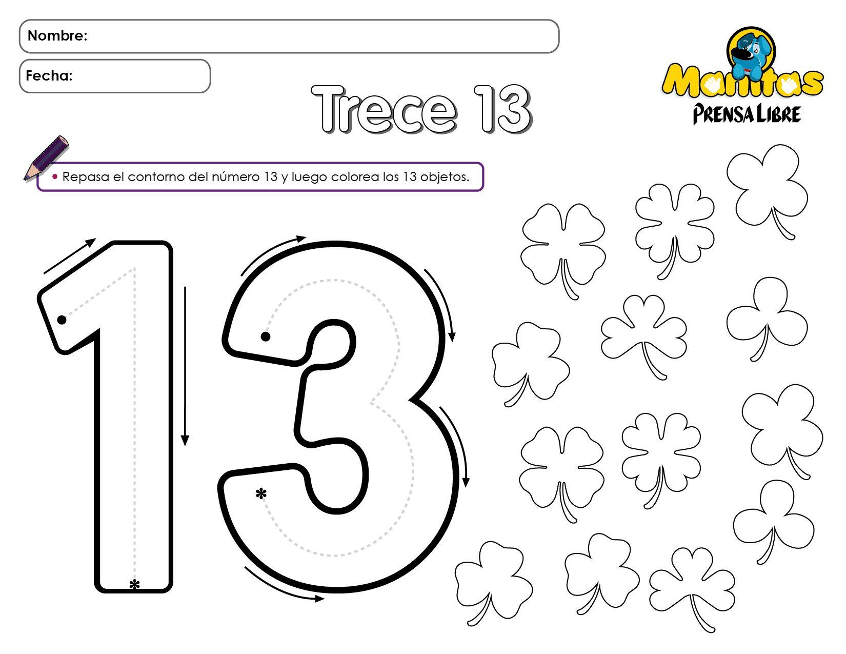 Numero 13 Para Colorear