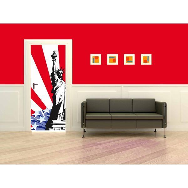 un sticker dcor de porte avec 2 symboles des etats unis la statue de la libert et le stars strips pour dco chambre ado ou restaurant