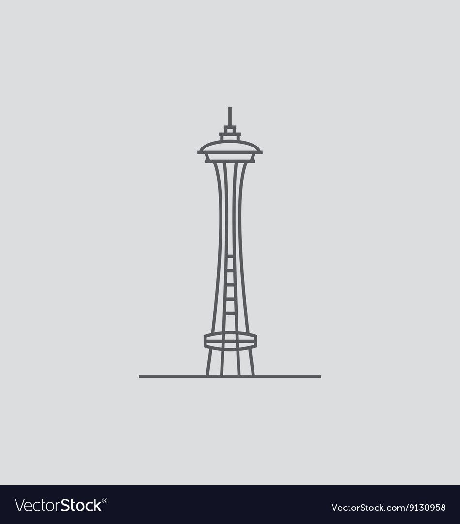 Space Needle Vector Image On Vectorstock Light Icon Space Needle Flat Icons Set