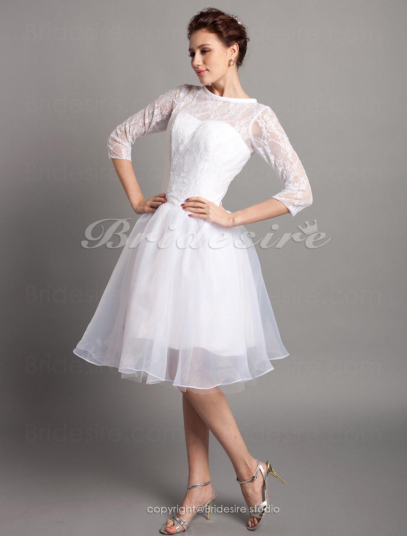 Knee length wedding dress  The Green Guide  Aline Satin Kneelength Bateau Wedding Dress