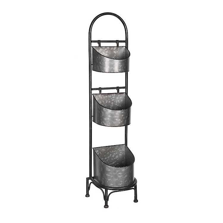 Galvanized 3tier rounded shelves stand discount home