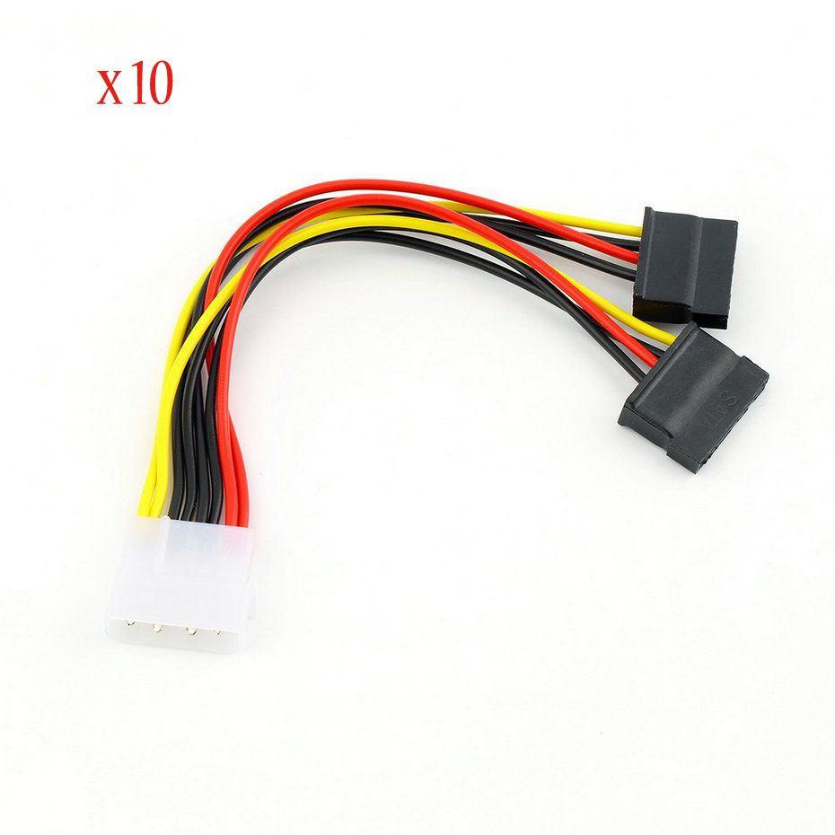 10pcs Serial ATA SATA 4 Pin IDE Molex to 2 of 15 Pin HDD Power ...