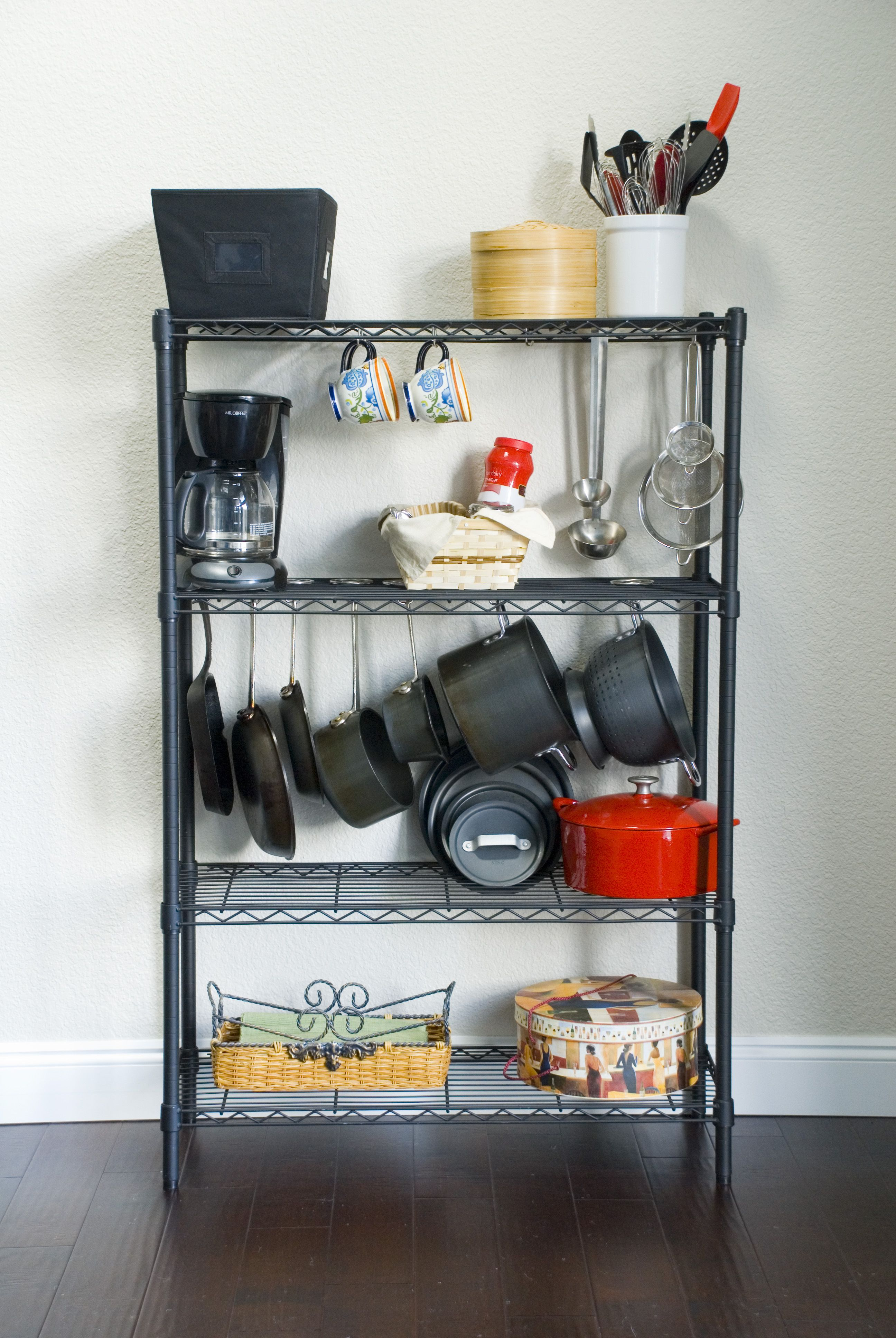 on the hook is strong enough for pots and pans but works great for mugs and cooking utensils on kitchen organization dishes id=15895