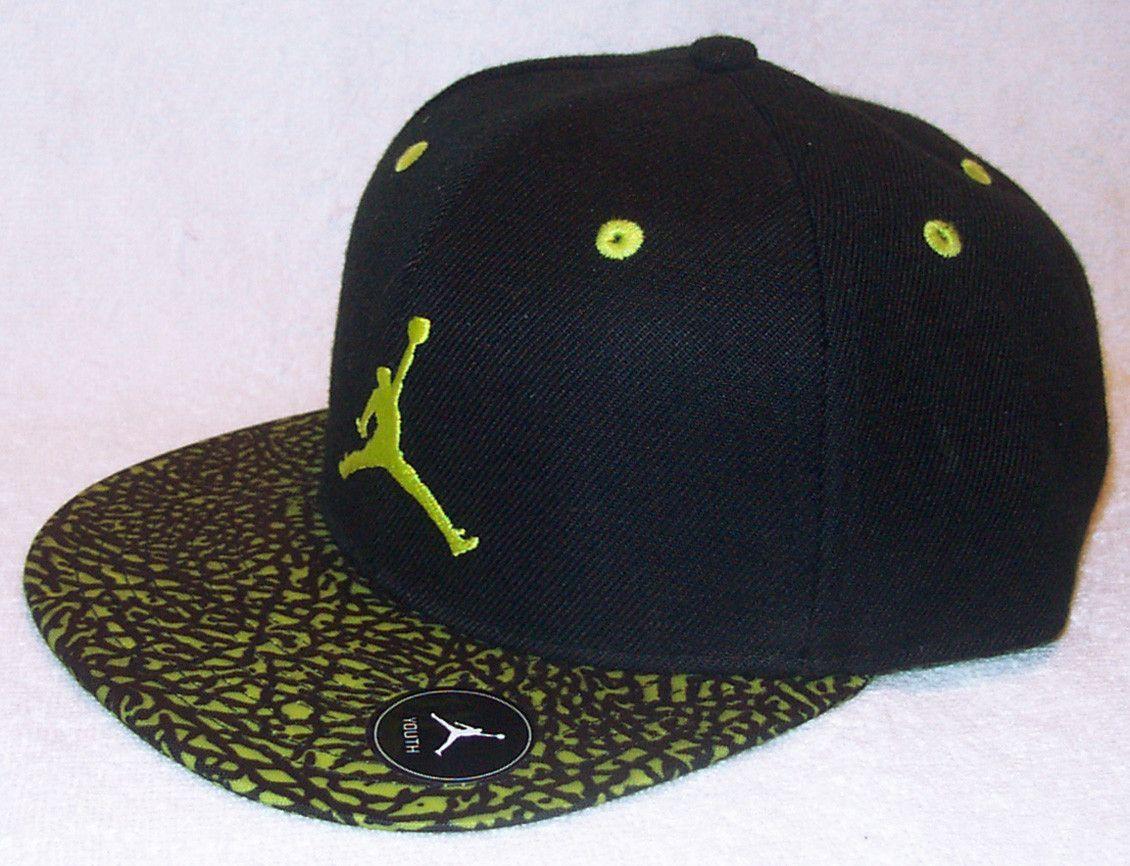 fd48deb65254 NIKE Air Jordan True Jumpman Youth Black Lime Volt Snapback Hat ...