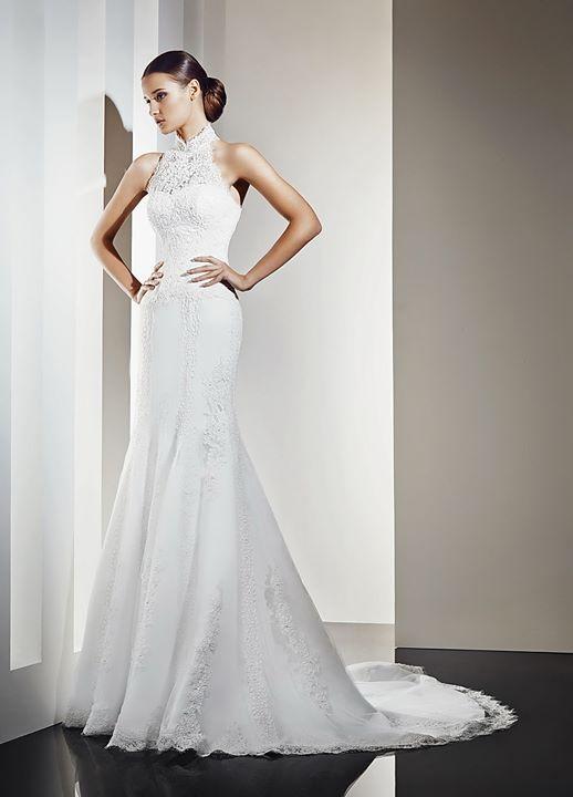 Vestido de novia 1233 con encaje rebrodé en colores blanco y marfil ...