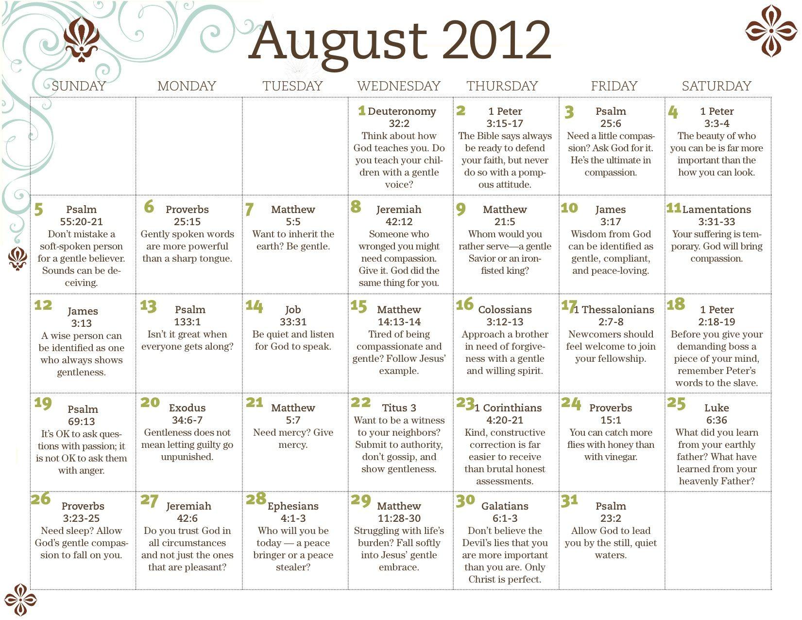 Our Daily Family Discipleship Calendar - August 2012 - HomeLife magazine
