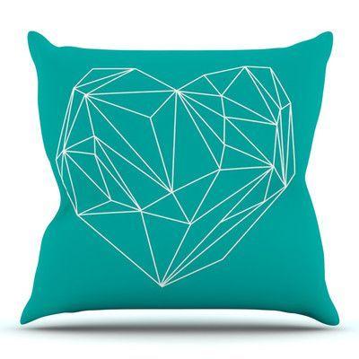 KESS InHouse Heart Graphic by Mareike Boehmer Outdoor Throw Pillow