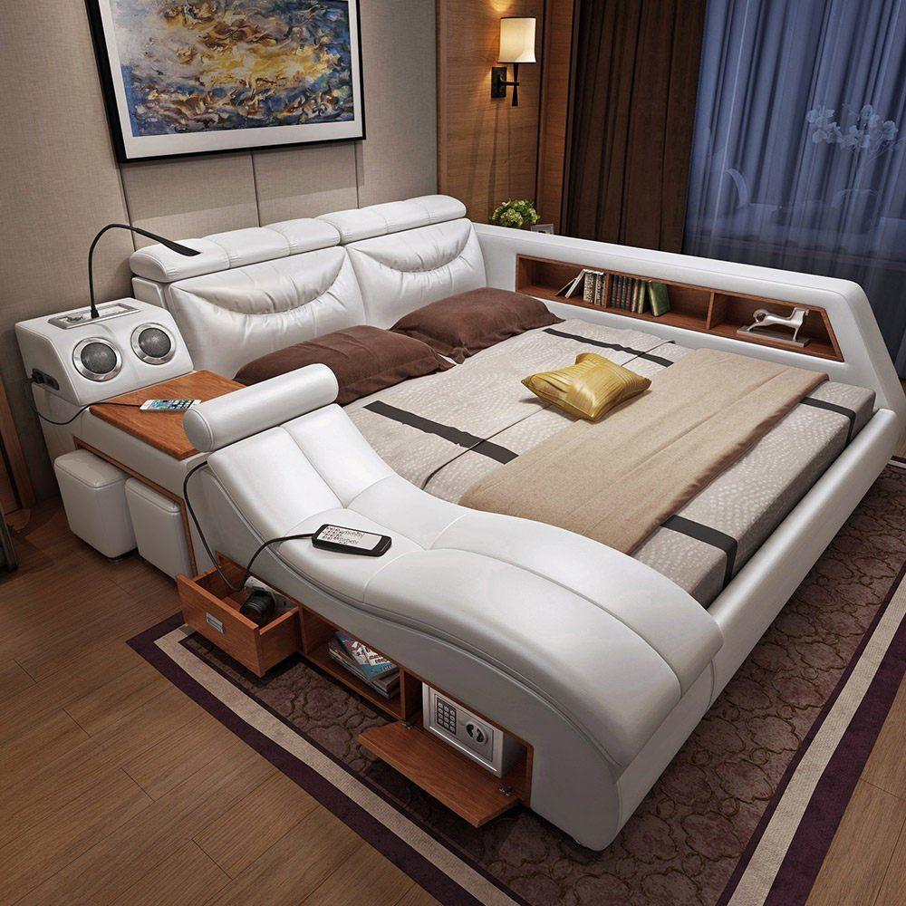 Tele Au Pied Du Lit moderne ascenseur tv lit avec matelas, king size lit en cuir