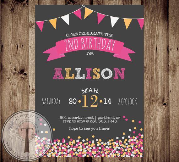 Confetti Birthday Invitation Chalk Girls Tween 1st 2nd 30th 40th 21st Party Any Age