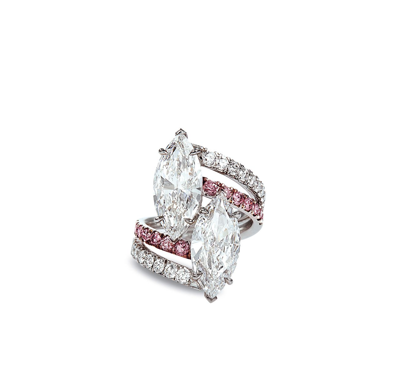Of Crossover Design Claw Set With Two Marquisecut Diamonds Weighing Approximately 3 08 And 3 01 Carats To The Fashion Rings Pink Diamond Outstanding Jewelry