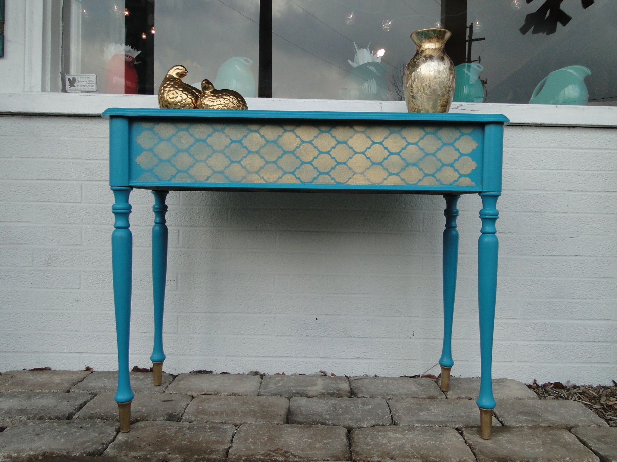 Gold And Turquoise Entry Table ***SOLD***