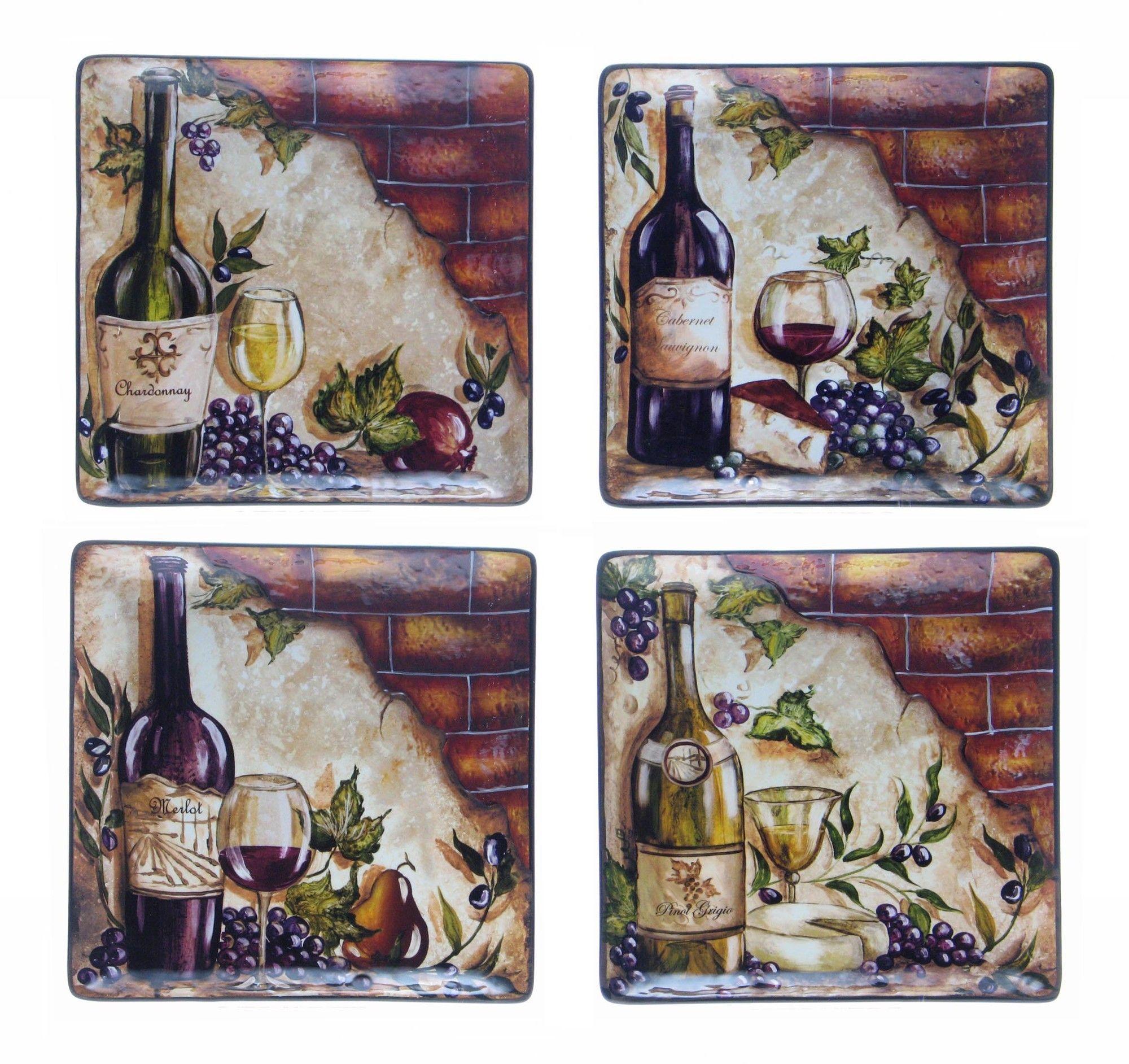 "Wine Cellar by Tre Studios 11"" Square Dinner Plate"