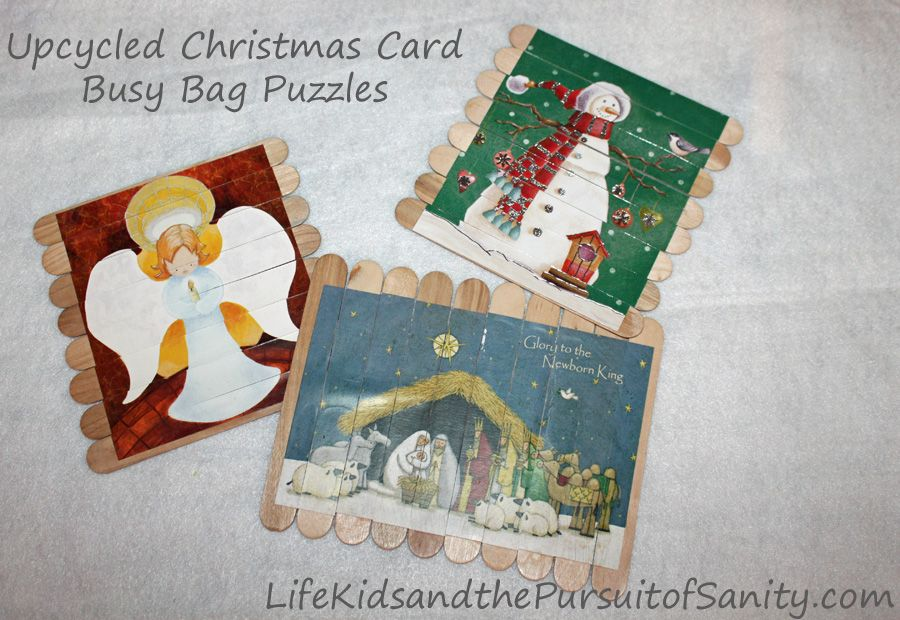 Upcycle Christmas Cards Busy Bag Puzzles Holiday Cheap Craft Preschool Fun Christmas Cards Christmas Cards Diy Christmas Cards