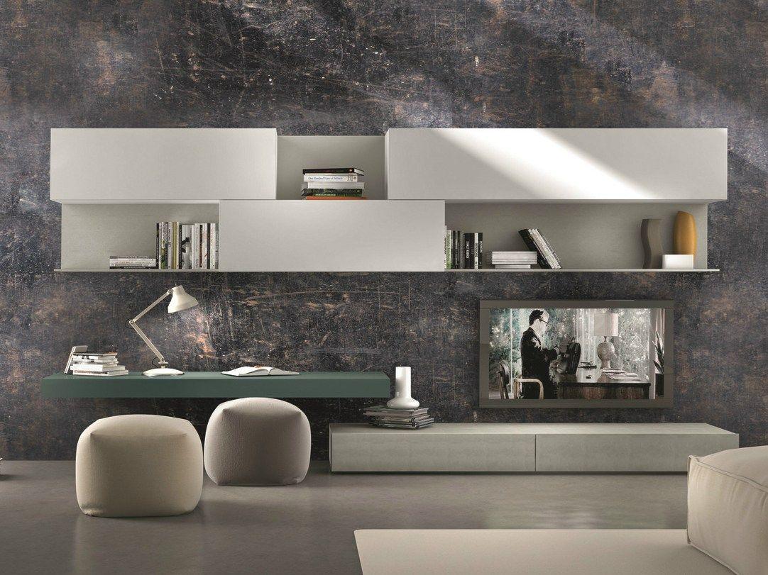 Parete attrezzata componibile fissata a muro con porta tv for Presotto industrie mobili spa
