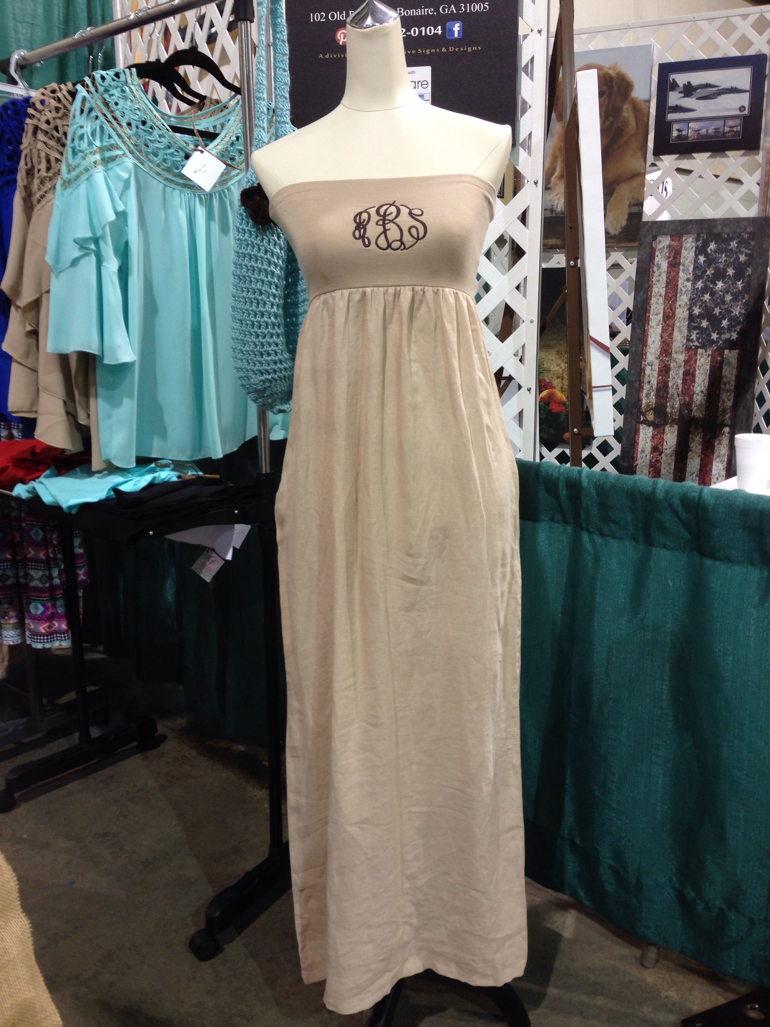 Monogrammed tube top maxi dress with pockets www.sgracec.com