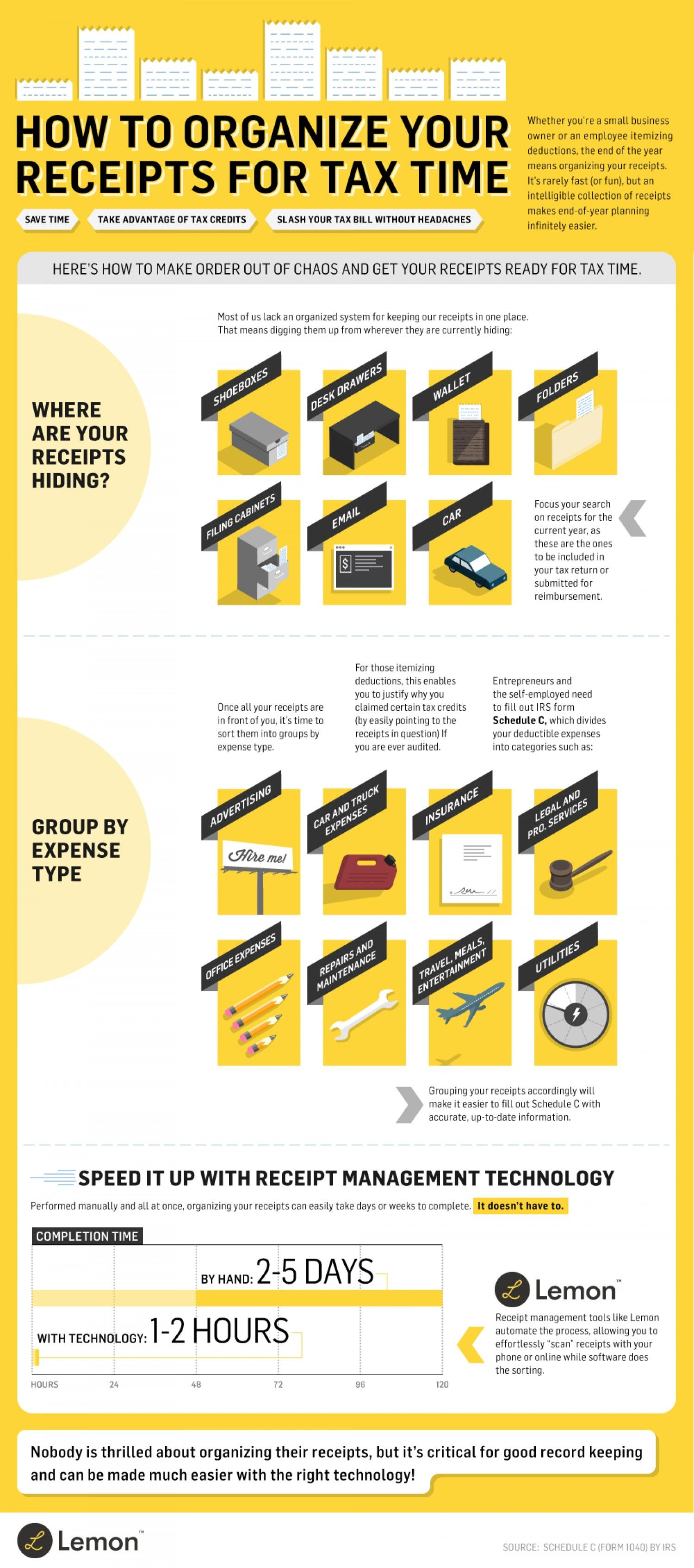 Money Receipts How To Organize Your Receipts For Tax Time Infographic  Money .