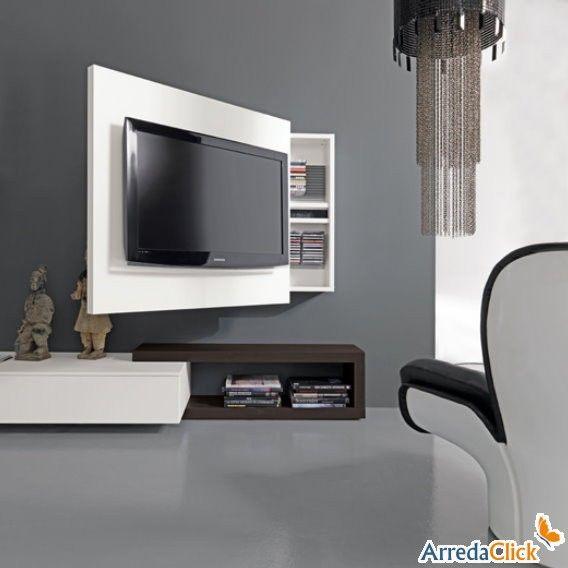 Porta Tv orientabile Rack con vano contenitore