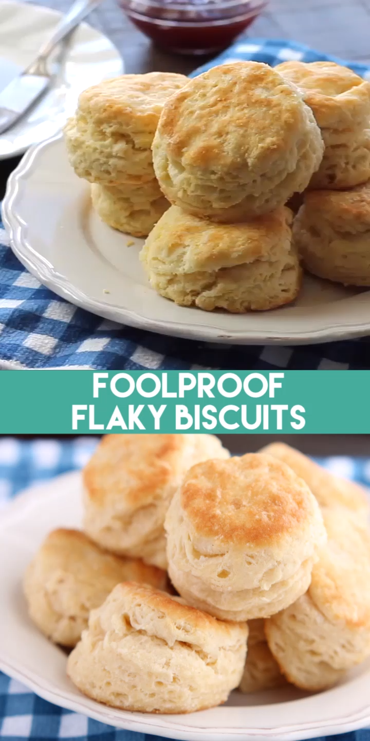 The secret to Foolproof Flaky Biscuits is revealed! Find out how to get flaky, layered, buttery, tender biscuits you will swoon over! #breakfast #brunch