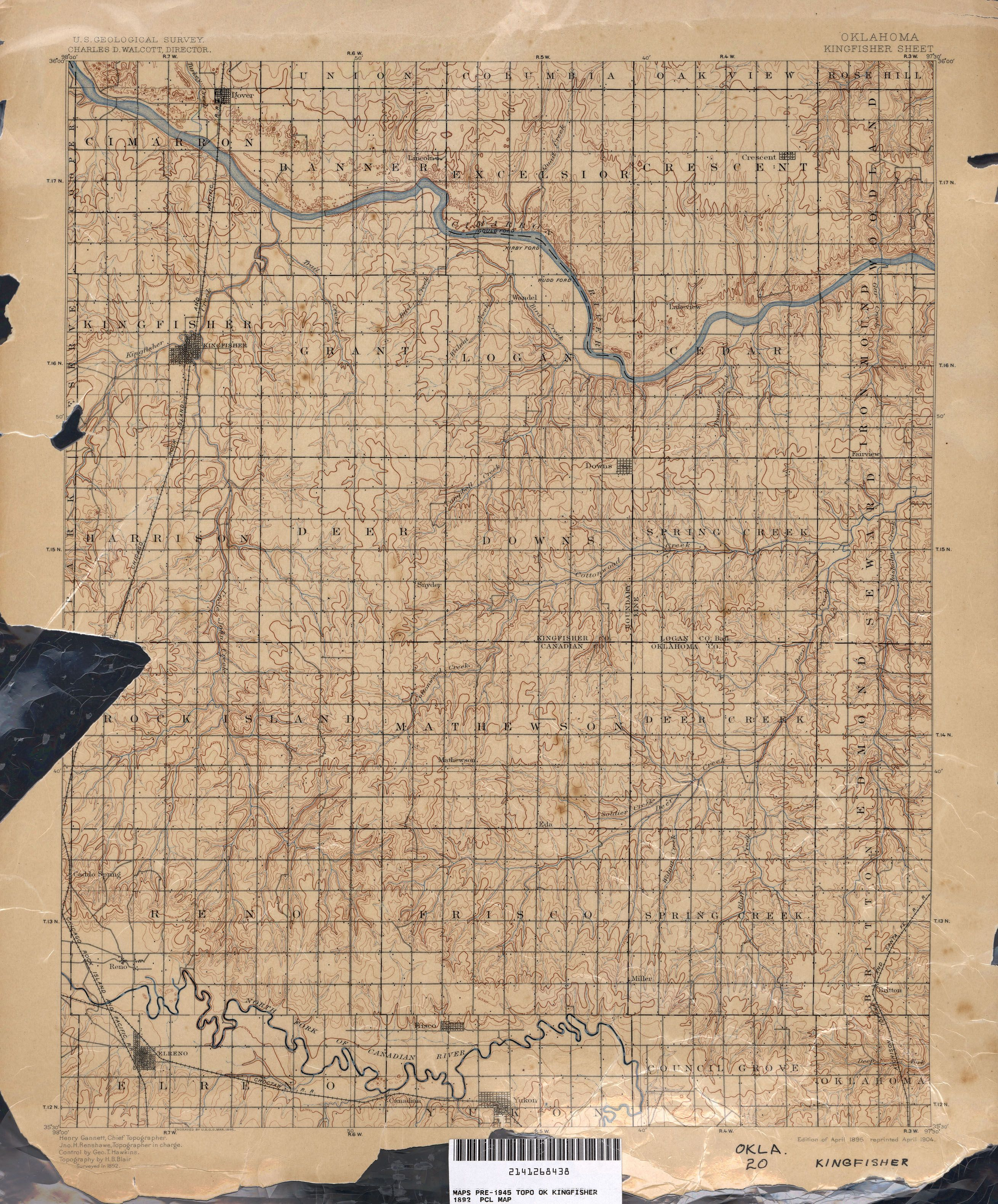 Indians In McLoud | Oklahoma Historical Topographic Maps - Perry ...
