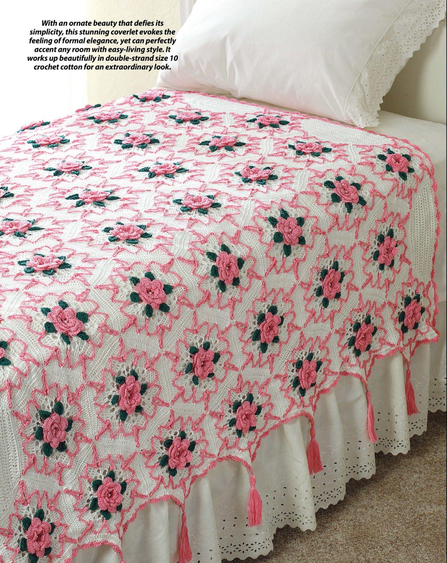Crochet rose splendor bed coverlet crochet bedspreads rose splendor heirloom afghan throw to crochet blanket pattern sheet bankloansurffo Choice Image