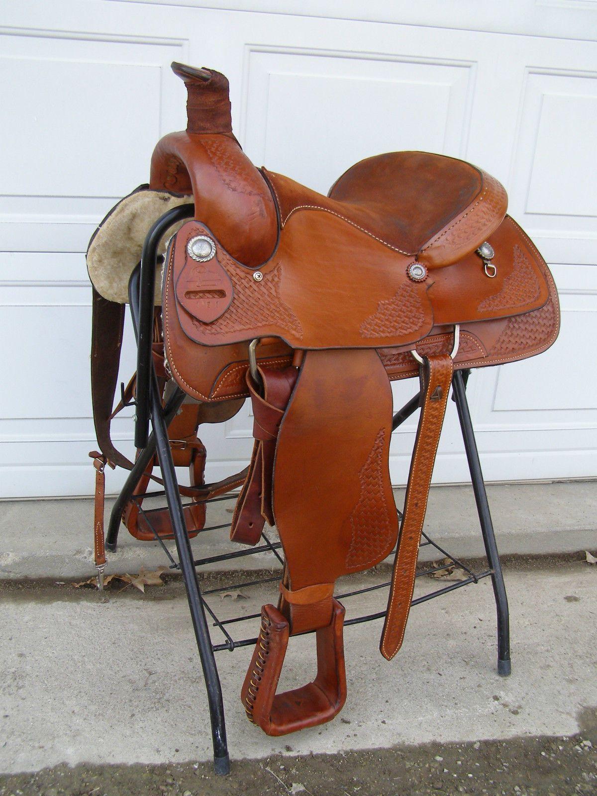 18e6fa75038 Used Sandstone Western Roping Saddle 16