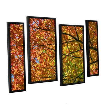 "Red Barrel Studio Fall Joy 4 Piece Framed Photographic Print Set Size: 24"" H x 36"" W x 2"" D"
