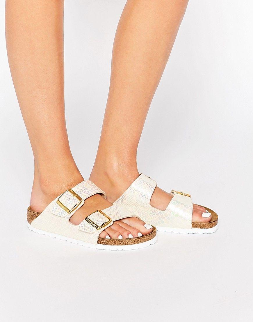 60baf2f6791d0 BIRKENSTOCK ARIZONA NARROW FIT SHINY SNAKE CREAM FLAT SANDALS - CREAM.   birkenstock  shoes