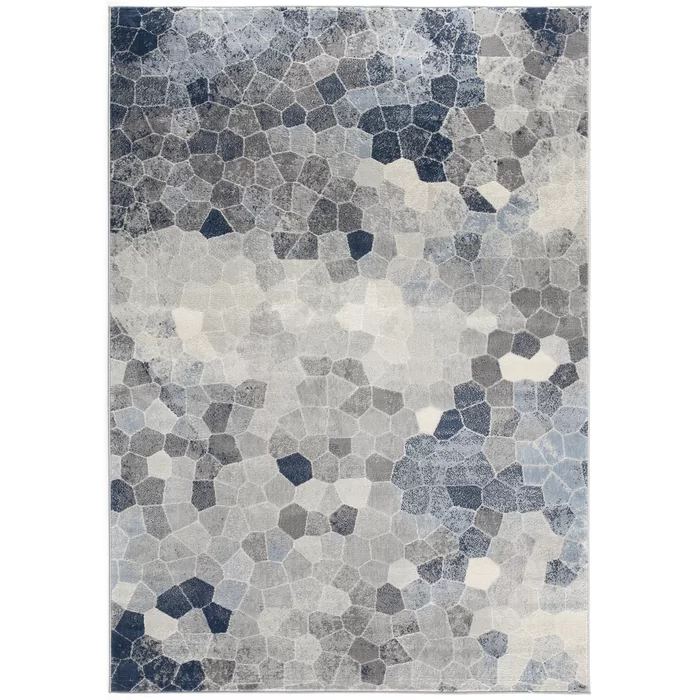 Capodanno Geometric Navy Gray Area Rug In 2020 Blue Grey Rug Blue Gray Area Rug Grey Area Rug