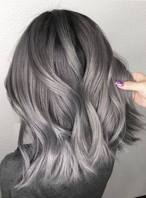 Dark Ombre With Ash Highlights For Medium Hairstyles 2018 Silver