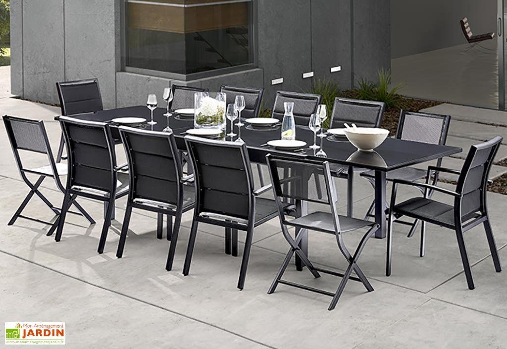 Salon de Jardin Modulo : Table Extensible + 8 Fauteuils + 4 ...