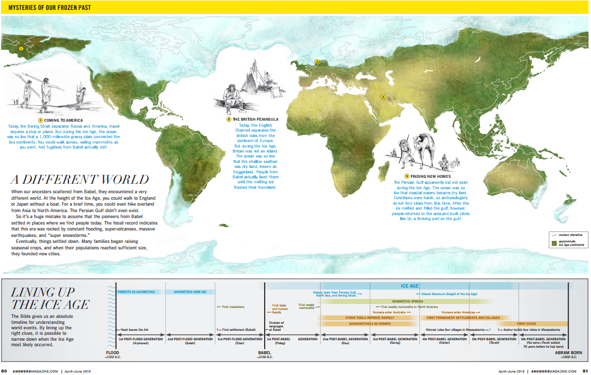 creationist map about the ice age by answers mag map creationism