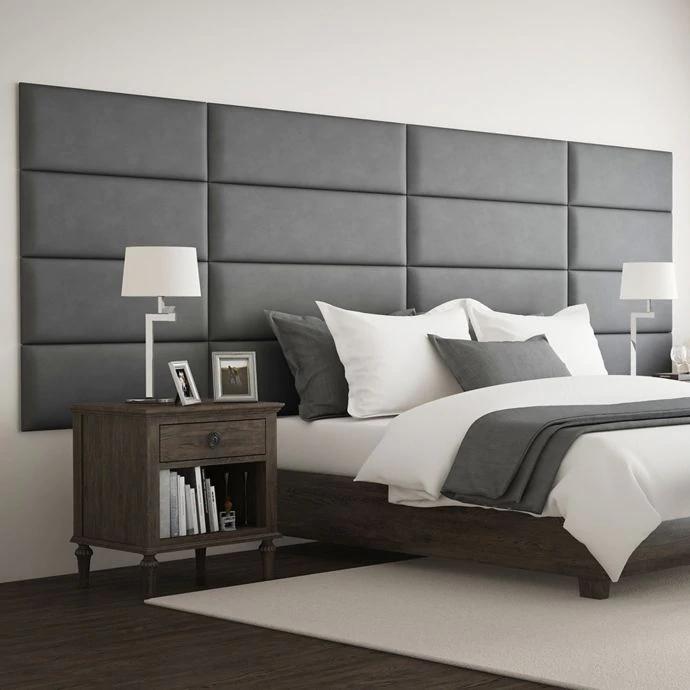Vant Micro Suede Upholstered Headboard Panels In Grey Bedroom
