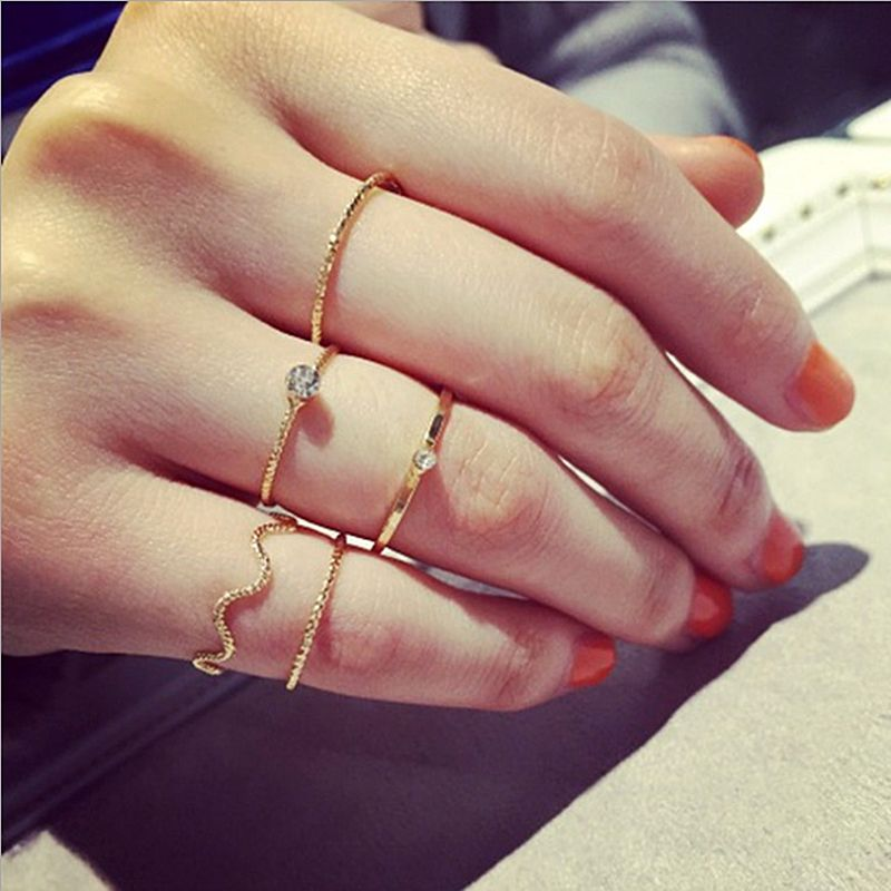 2983ed4db7fcc 5pcs/pck crystal women knuckle rings female stacking CZ punk ring ...