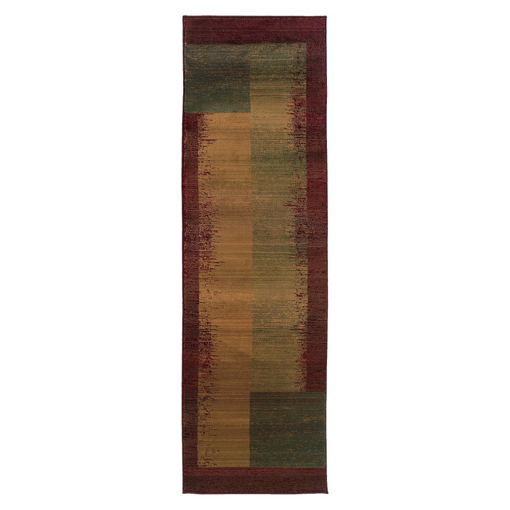 Modern Block Runner - Multicolor (2'X8'), Variation Parent Brown Beige Multicolored