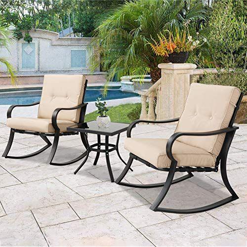 Magnificent Solaura Outdoor Rocking Chairs Bistro Set 3 Piece Black Ibusinesslaw Wood Chair Design Ideas Ibusinesslaworg