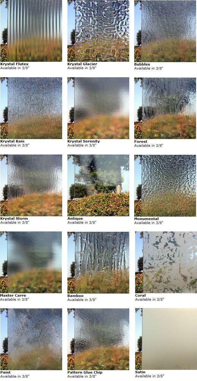 Shower Door Glass Types - Shower Door Experts | Glass | Pinterest ...