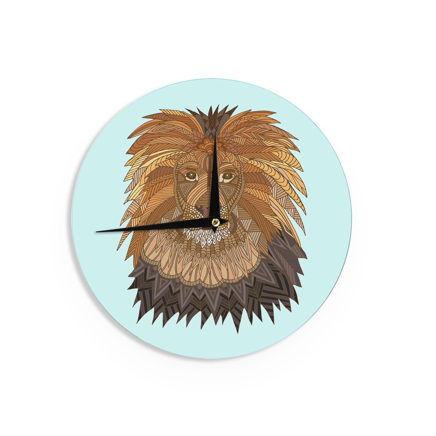 Kess InHouseArt Love Passion Lion Brown Wall Clock Products