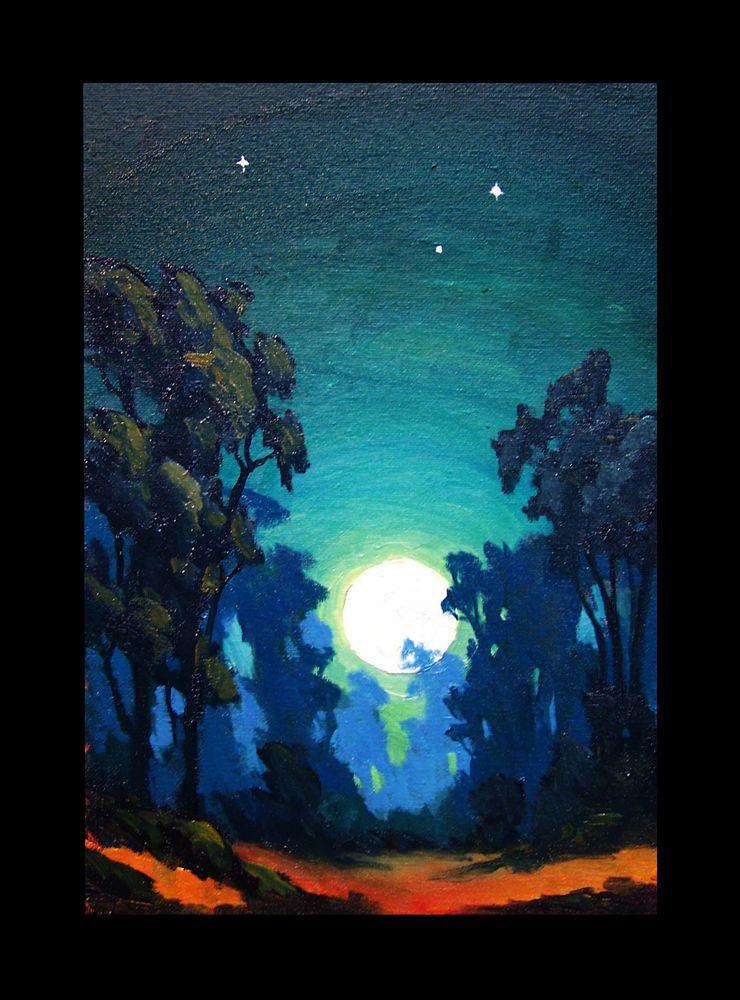 Art Painting Impressionist Moon Night Sky Landscape Vintage Hawkins Oil Original Art Art Inspiration Night Skies