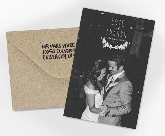 Wedding Thank You Card Love And Thanks By Violaprints On Etsy
