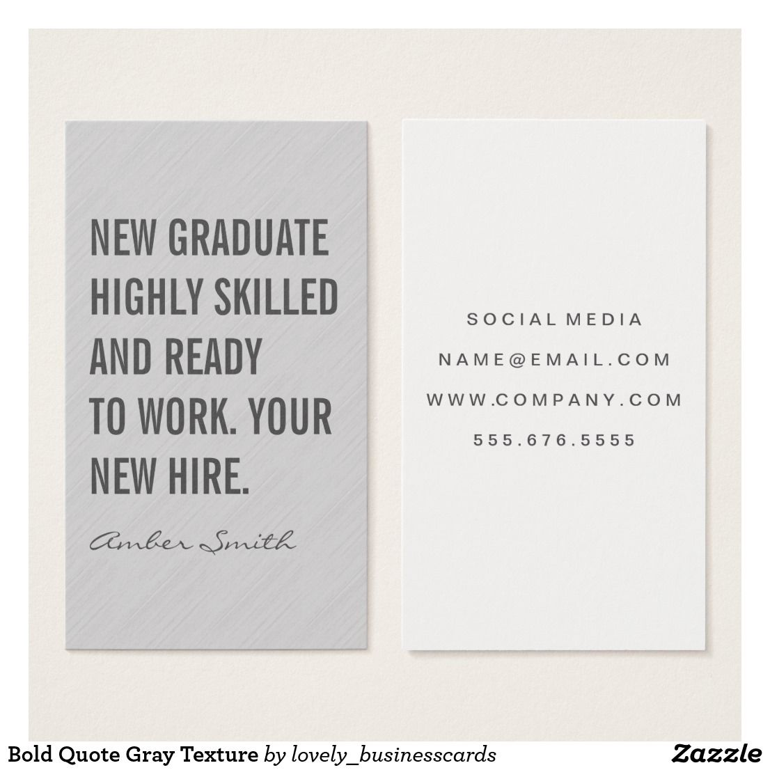 bold quote gray texture business card  zazzle