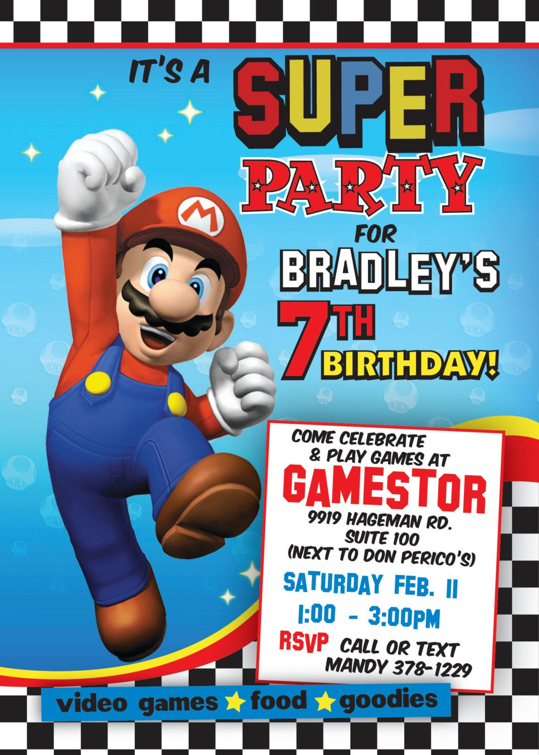 Super mario printable birthday party invitation love this theme super mario printable birthday party invitation love this theme totally doing it monicamarmolfo Gallery