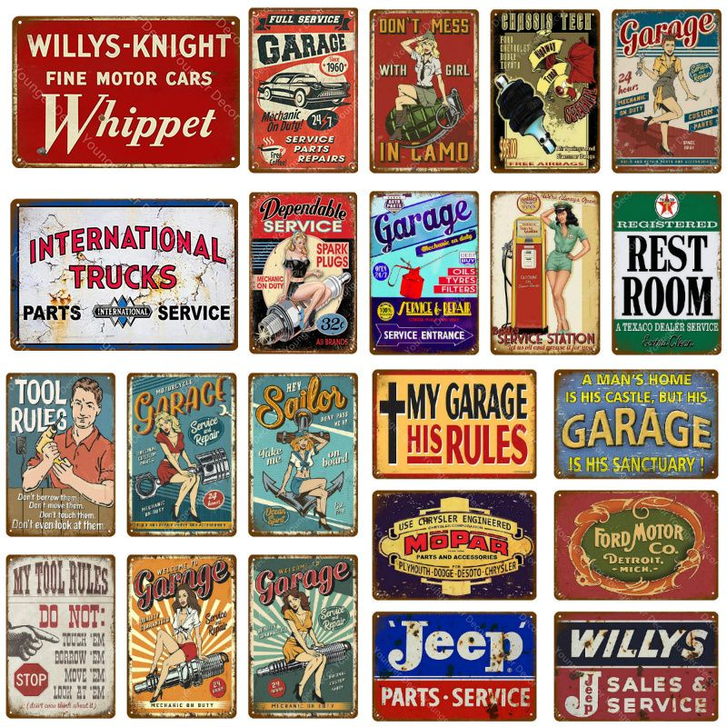 Car Trucks Motor Service Metal Tin Signs Garage Tool Rules Decor
