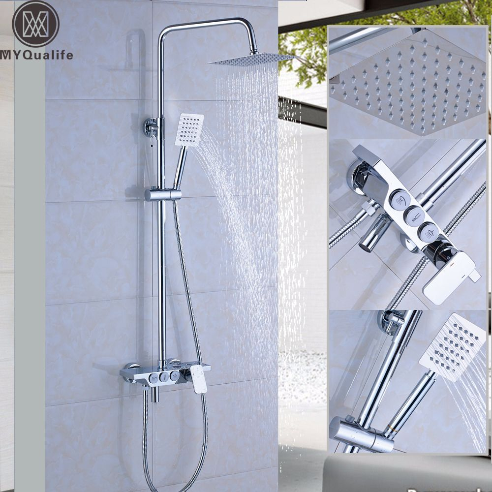 Luxury Wall Mounted Rain Shower Faucets Kit Square Stainless Steel ...