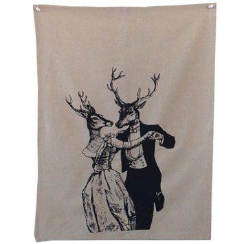 """Amazon.com - """"Dancing Deer"""" Tea Towel 100% Linen Made in LA"""