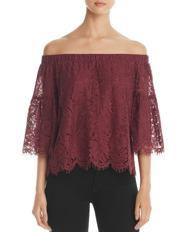 fc00f9c218d9a8 Finn & Grace Off-the-Shoulder Lace Bell Sleeve Top - 100% Exclusive ...