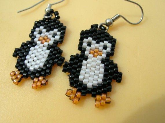 Cute little beaded penguin earrings by fantasybeader on Etsy, $10.50