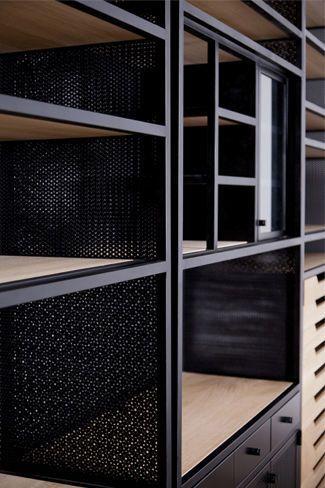 Modernes Regal / Holz / aus Metall / Glas - NAMLIEH - karen