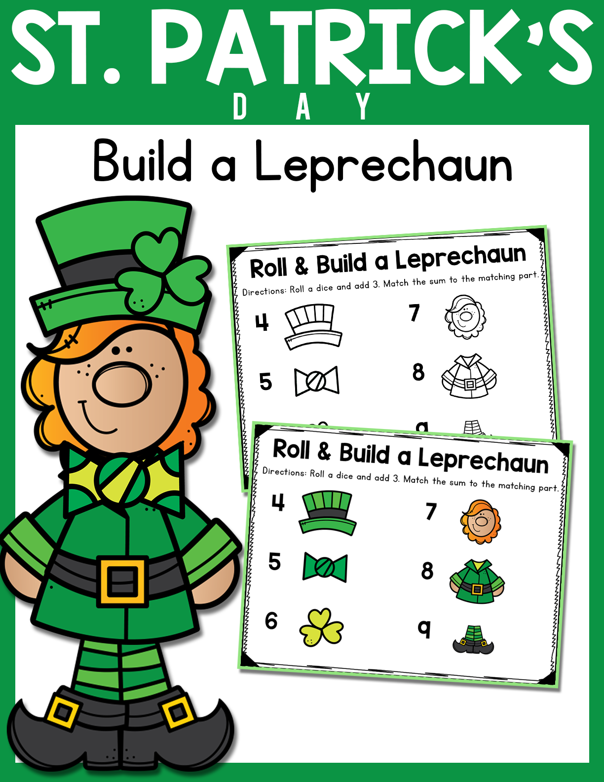 St Patrick S Day Roll Add And Build A Leprechaun