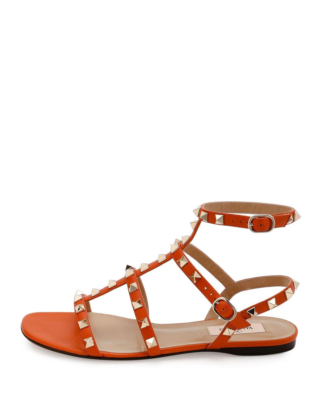 45be9bd3dec9 Valentino Garavani Rockstud Leather Flat Sandal