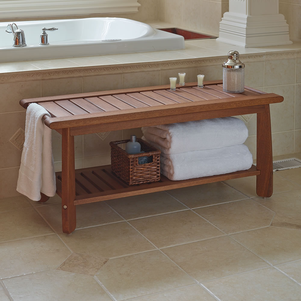 The Brazilian Eucalyptus Bathroom Bench Hammacher Schlemmer Bathroom Bench Teak Bathroom Bathroom Bench Seat